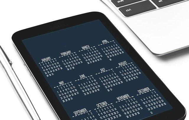 Calendrier de tablette tactile
