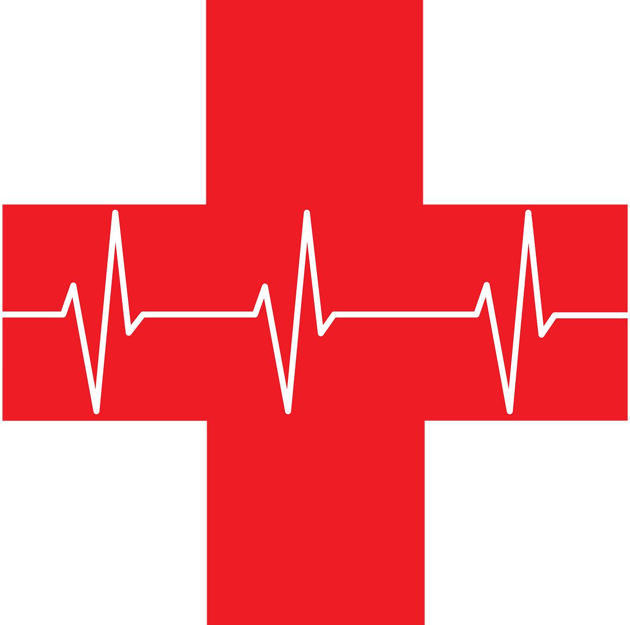 Croix rouge avec rythme cardiaque